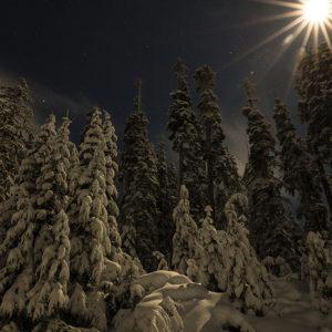 Ski de nuit dans les Alpes